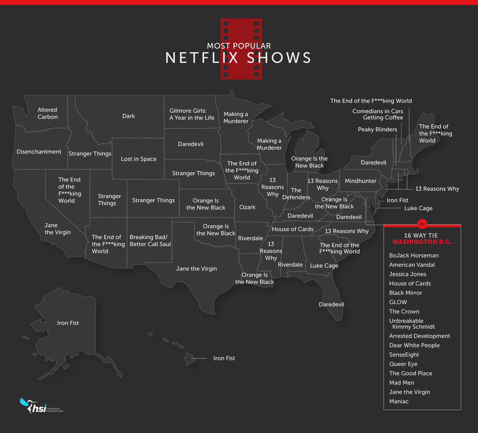 The Most Popular Netflix Show in Each State for 2018