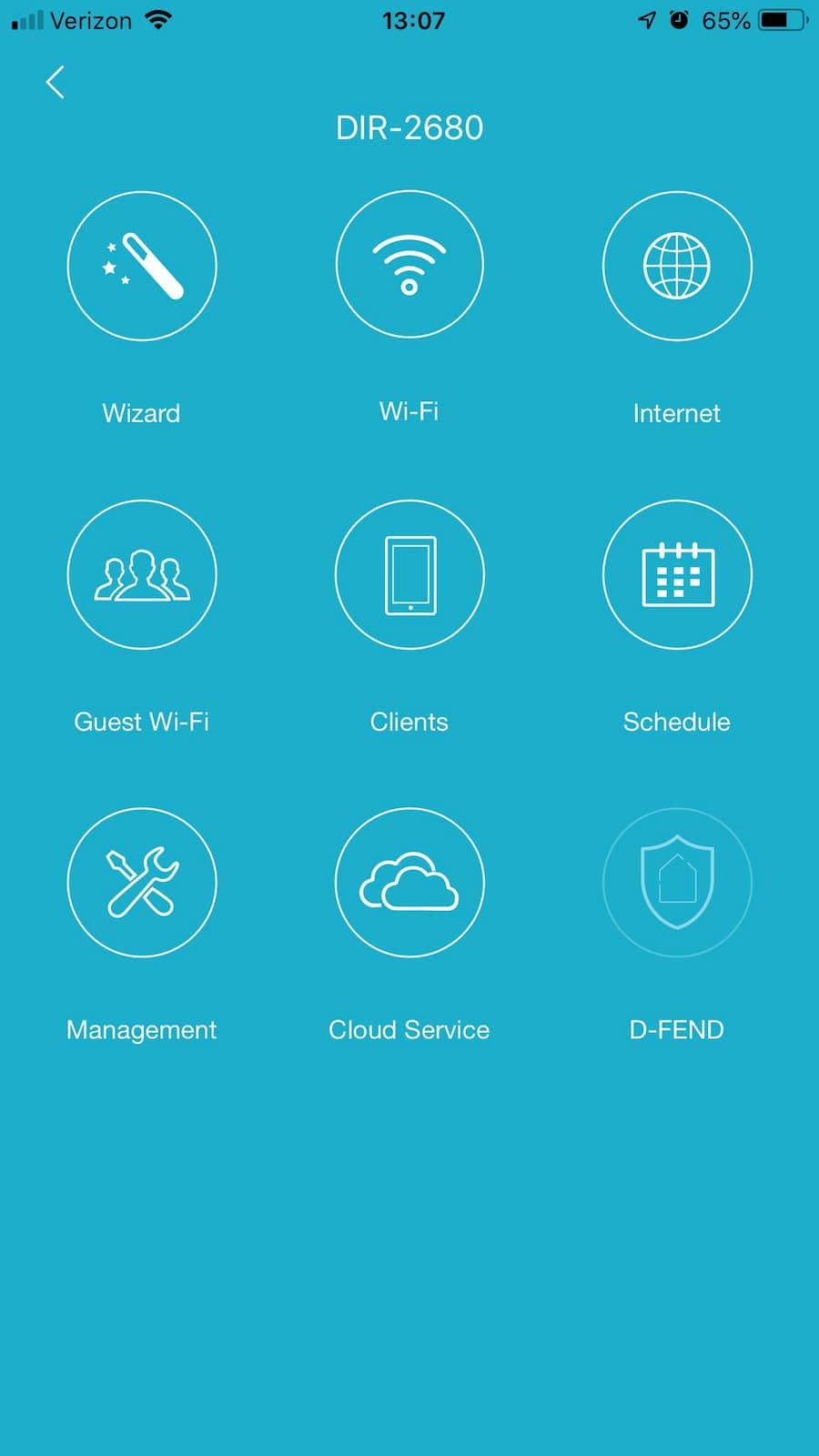 D-Link Wi-Fi settings menu