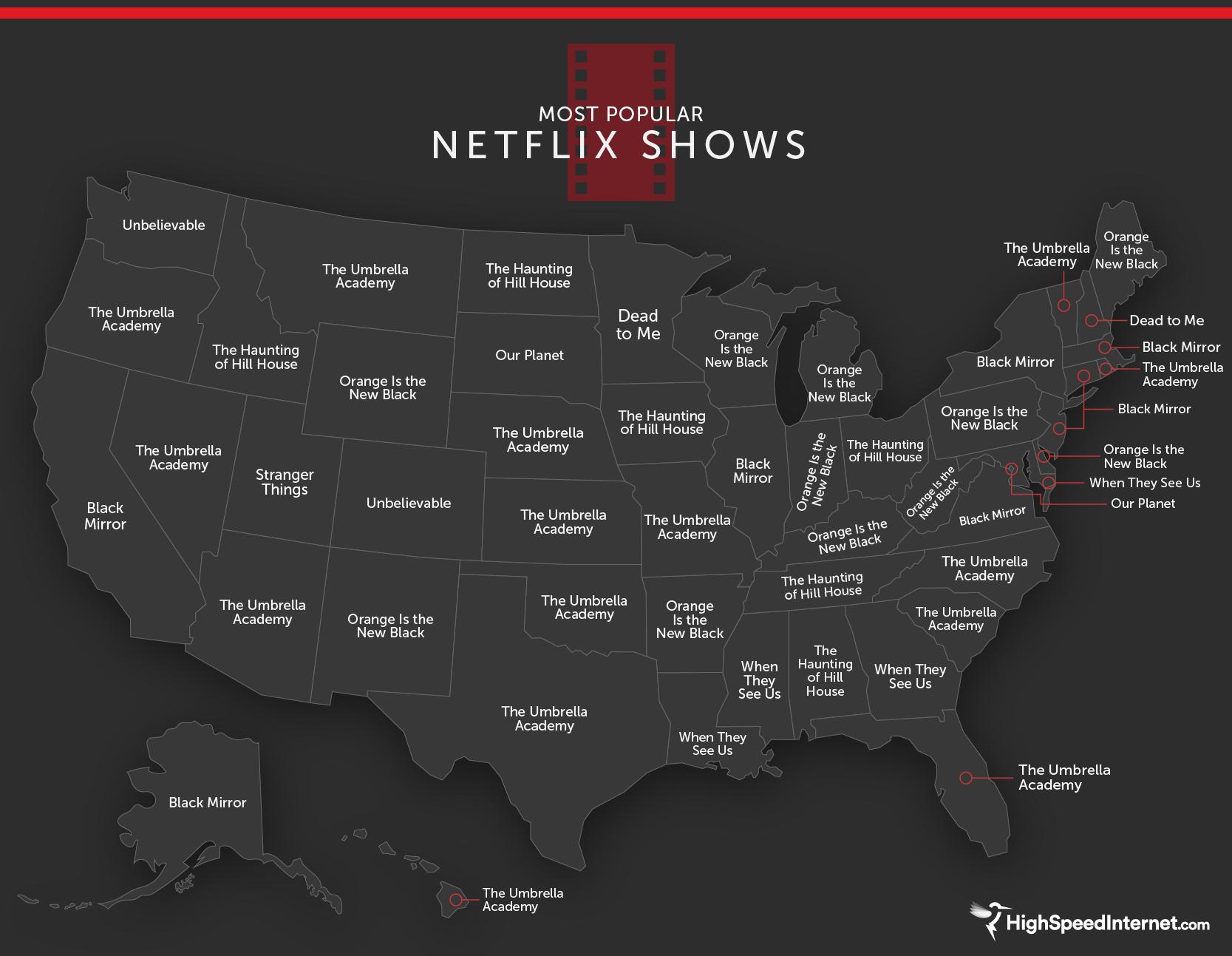 Netflix show popularity map.