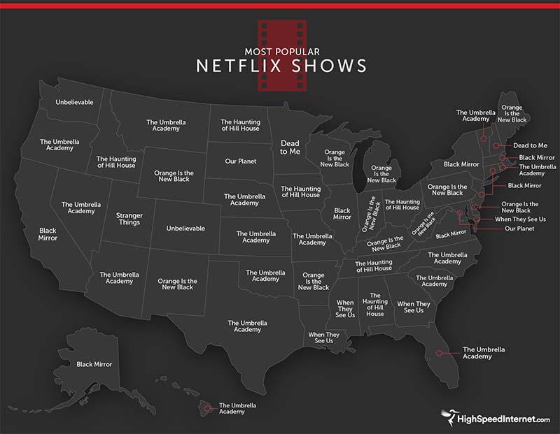 Netflix show popularity map