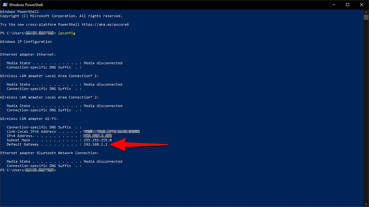 Windows 10 Get Router Address