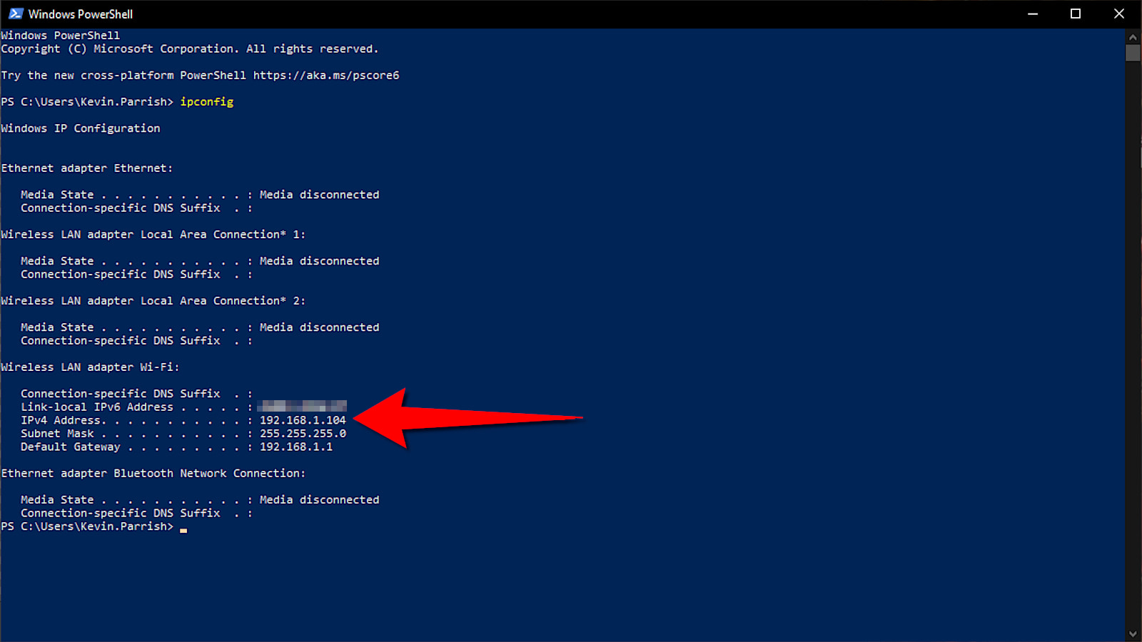Use IPCONFIG in Windows