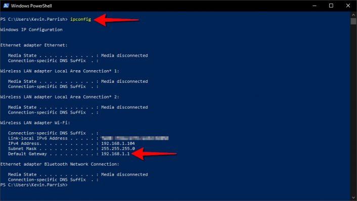 Windows 10 PowerShell ipconfig