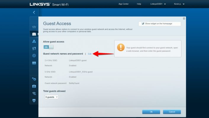 Linksys Edit Guest WiFi Settings