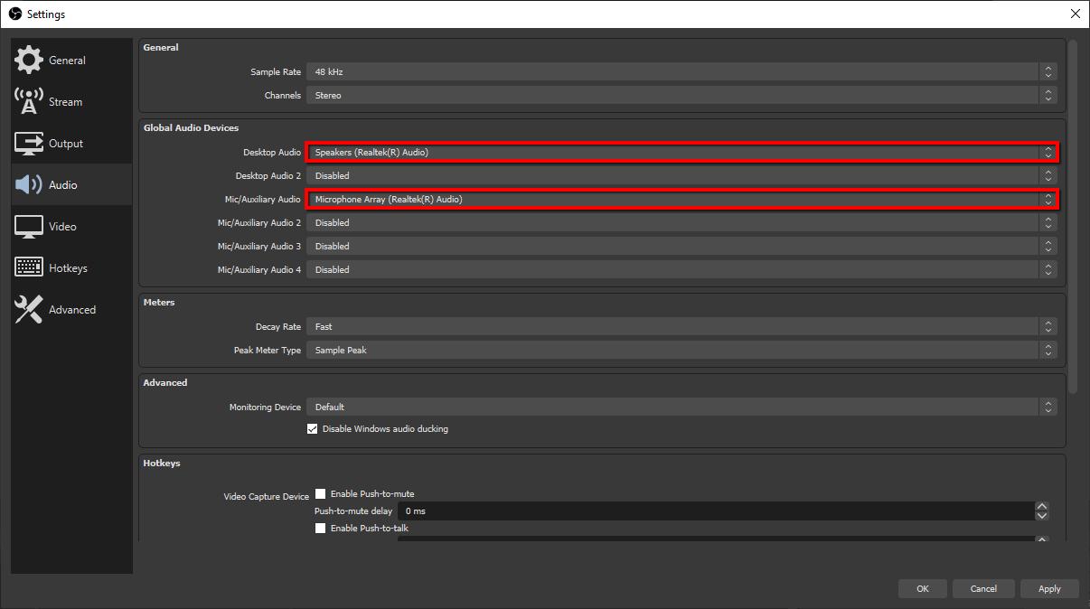 OBS Studio audio settings