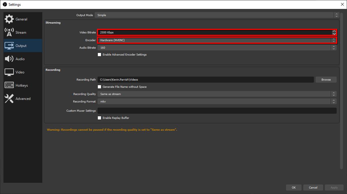 OBS Studio streaming settings