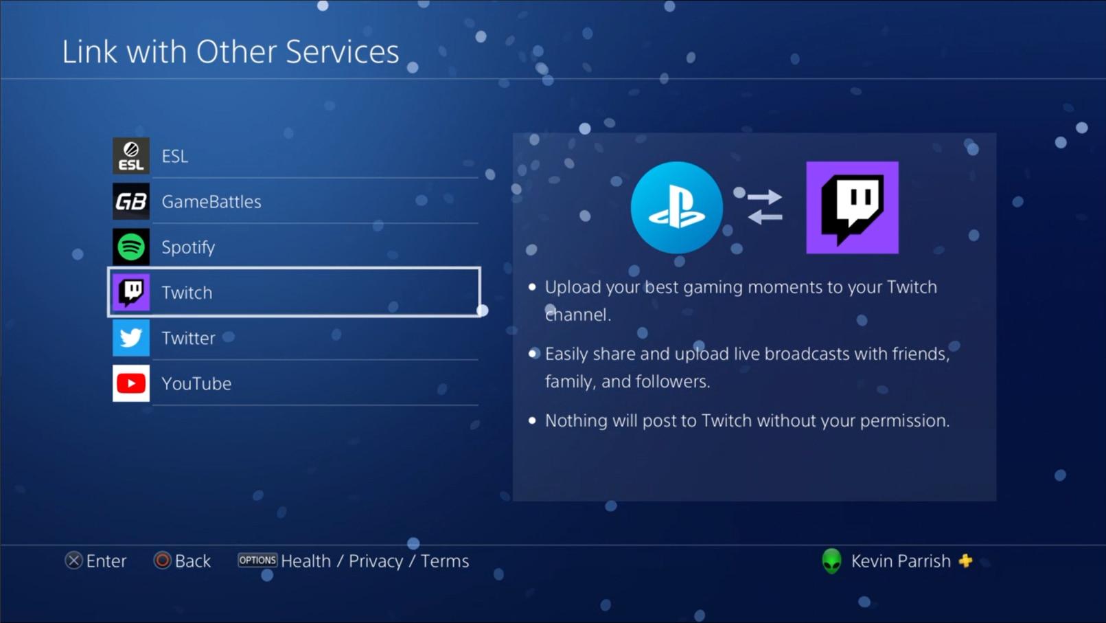 PlayStation 4 Link Twitch