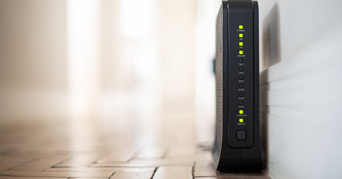 A router in a hallway