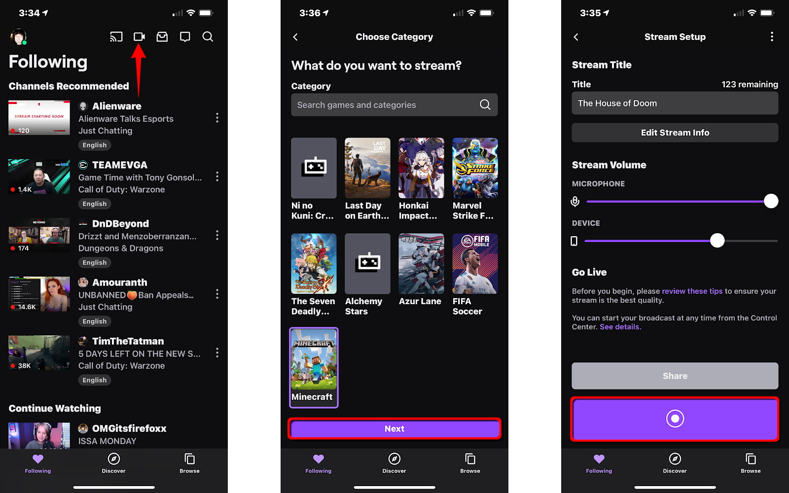 Stream Twitch from iPhone