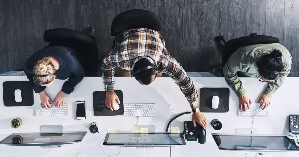 workers sitting at computers in an office